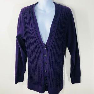 Purple Lands End Cable Knit Cardigan Size 1X